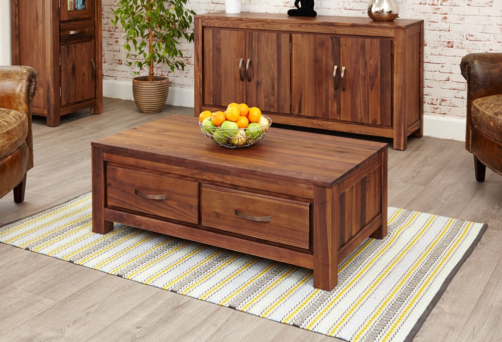 Mayan Walnut Low Coffee Table With 4 Drawers Rustic | Coffee Tables Pertaining To Walnut 4 Drawer Coffee Tables (View 4 of 40)