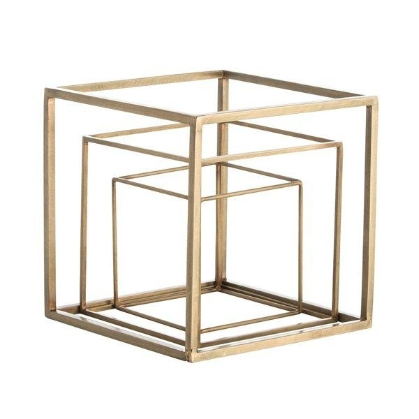 Mccoys 3 Piece Brass Cubes Sculpture Set Inside Brass Iron Cube Tables (Image 25 of 40)