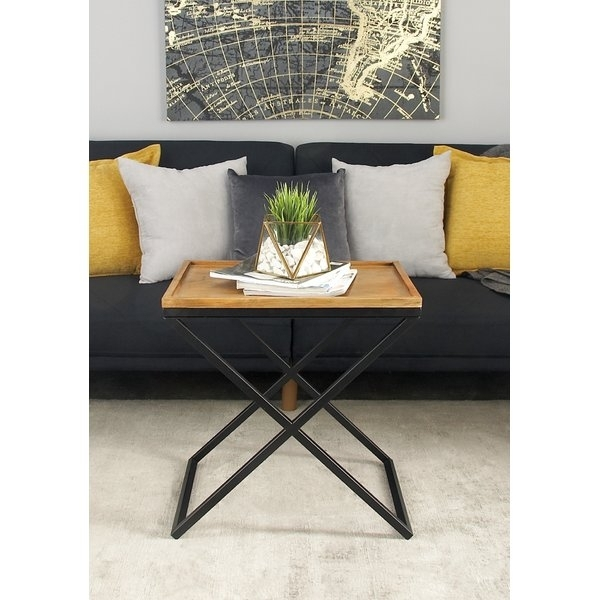Metal And Wood Accent Table | Wayfair Regarding Large Scale Chinese Farmhouse Coffee Tables (Image 33 of 40)