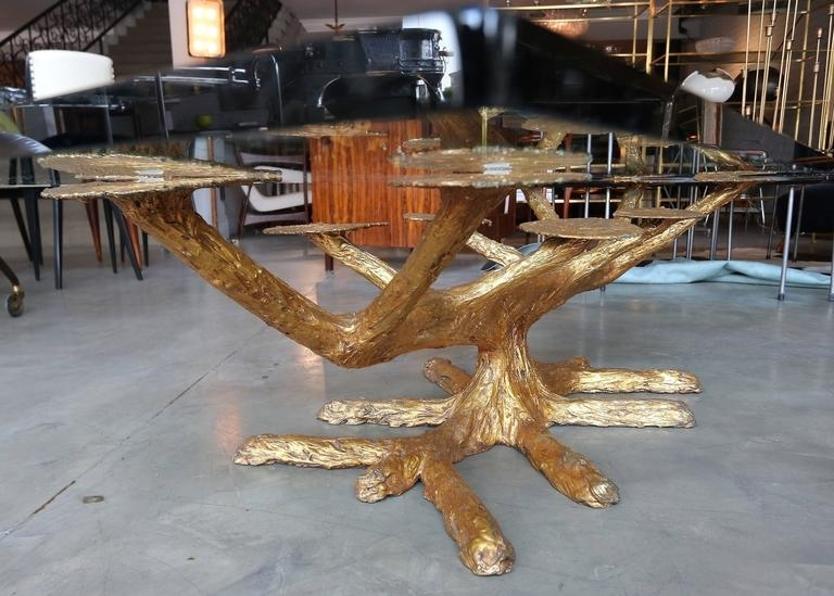 Metal Faux Bois 1960S Coffee Table With Gold Leaves And Glass Top At Inside Faux Bois Coffee Tables (View 28 of 40)