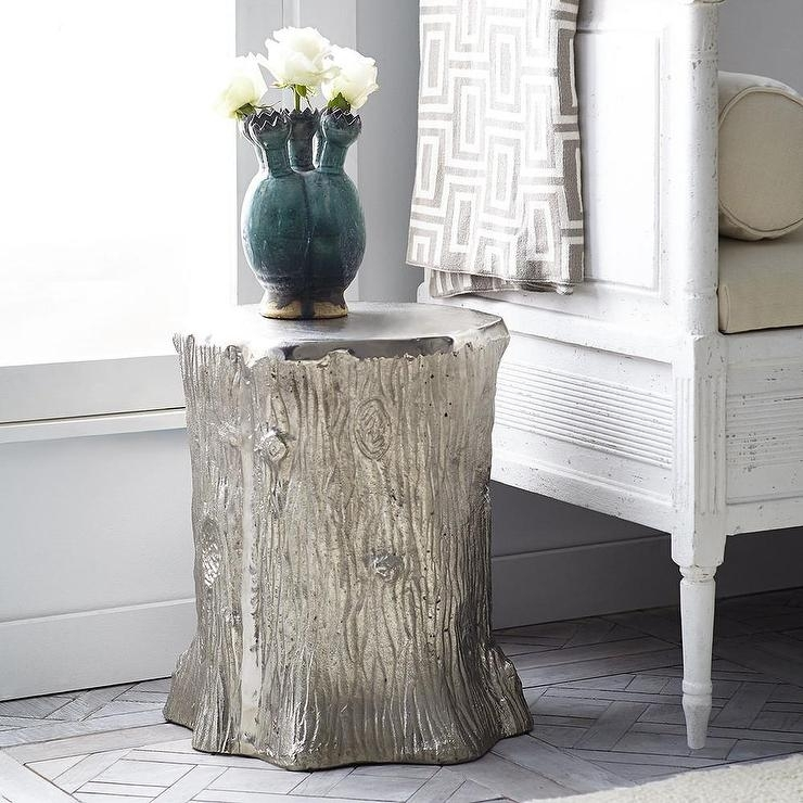 Metallic Faux Bois Silver Stool In Faux Bois Coffee Tables (View 21 of 40)