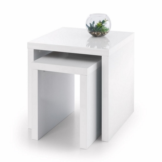 Metric 2 Nesting Tables Square In White High Gloss 27256 Inside Stack Hi Gloss Wood Coffee Tables (Image 20 of 40)