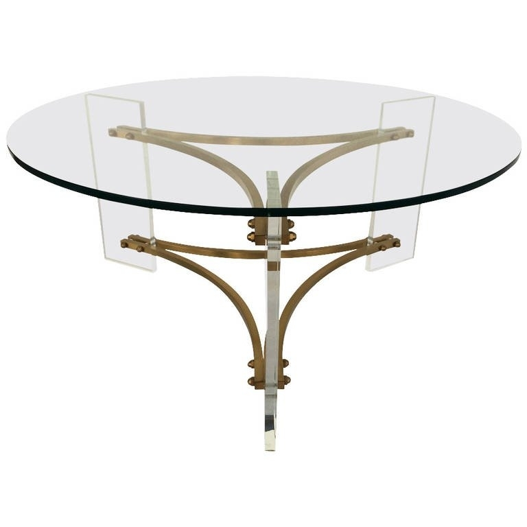 Mid Century Brushed Brass And Acrylic Coffee Tablecharles Hollis Inside Acrylic & Brushed Brass Coffee Tables (Photo 9 of 40)