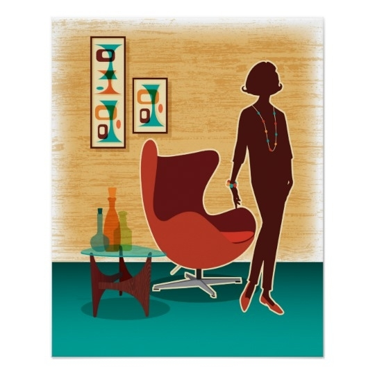 Mid Century Modern Egg Chair Poster | Zazzle Within Mid Century Modern Egg Tables (Image 16 of 40)