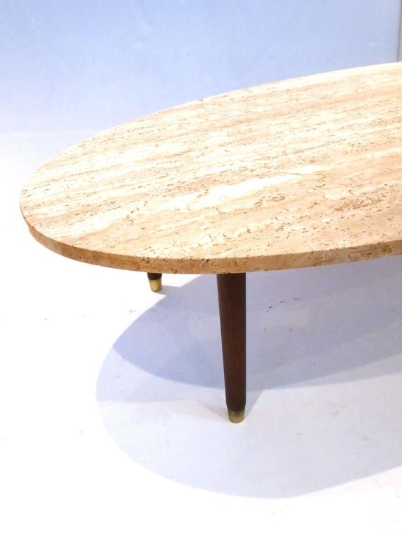 Mid Century Modern Marble And Wood Tapered Legs Oval Coffee Table At Throughout Mid Century Modern Marble Coffee Tables (Image 25 of 40)