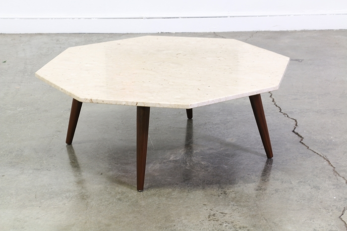 Mid Century Modern Marble Top Octagon Coffee Table Vintage Regarding Within Mid Century Modern Marble Coffee Tables (Image 17 of 40)