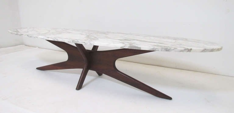 Mid Century Modern Marble Top Surfboard Coffee Table At 1Stdibs Intended For Mid Century Modern Marble Coffee Tables (Image 26 of 40)