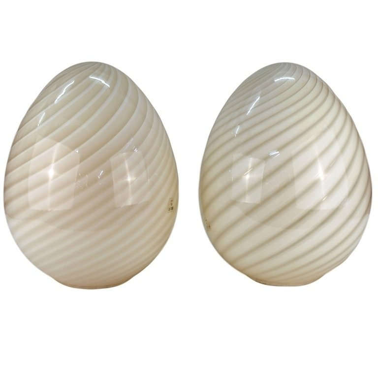 Mid Century Modern Pair Of Vetri Murano Glass Egg Table Lamps Regarding Mid Century Modern Egg Tables (Image 24 of 40)