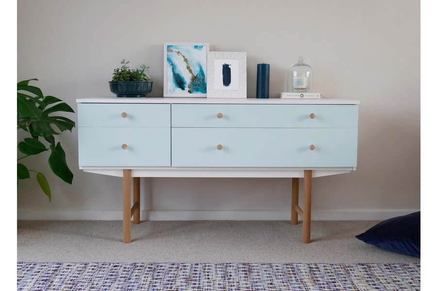 Mid Century Modern Sideboard Drawers Painted White & Duck Egg Blue Inside Mid Century Modern Egg Tables (Image 21 of 40)