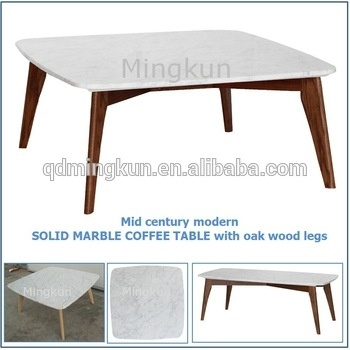 Mid Century Modern Solid Marble Coffee Table With Oak Wood Legs Inside Marble Coffee Tables (Image 25 of 40)