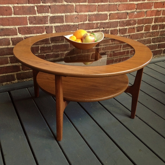 Mid Century Modern Solid Teak Round Coffee Table – Urban Dwellers For Round Teak Coffee Tables (Image 15 of 40)