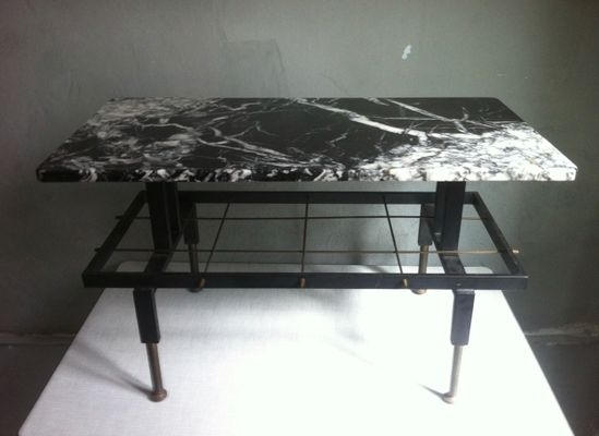 Mid Century Spanish Iron And Marble Coffee Table & Magazine Rack In Iron Marble Coffee Tables (View 21 of 40)