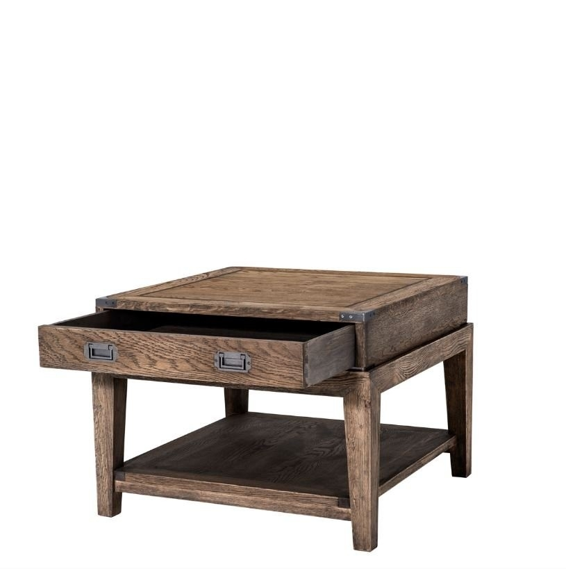 Military Smoked Oak Side Table Regarding Smoked Oak Side Tables (Image 19 of 40)