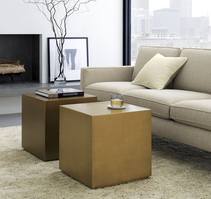 Minimalist Brass Cubes Modular Coffee Table From Crate & Barrel With Regard To Modular Coffee Tables (Photo 14 of 40)
