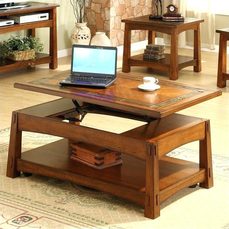 Mission Style Lift Top Coffee Table Set In Medium Oak – Coffee Table Pertaining To Kelvin Lift Top Cocktail Tables (Image 20 of 40)
