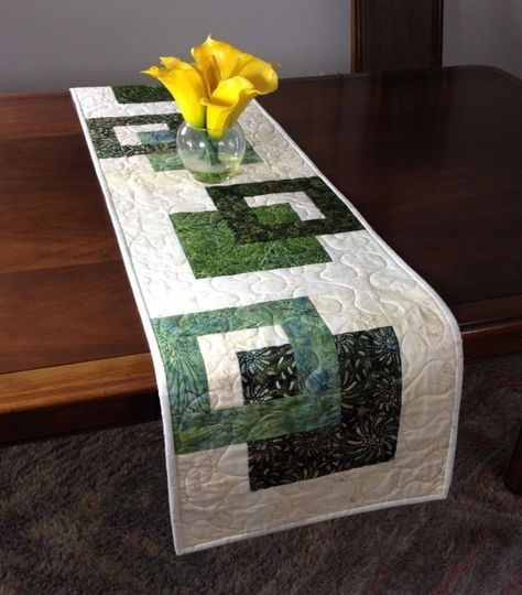 Modern Batik Table Runner, Handmade Green Quilted Tablerunner, Green For Batik Coffee Tables (Photo 24 of 40)