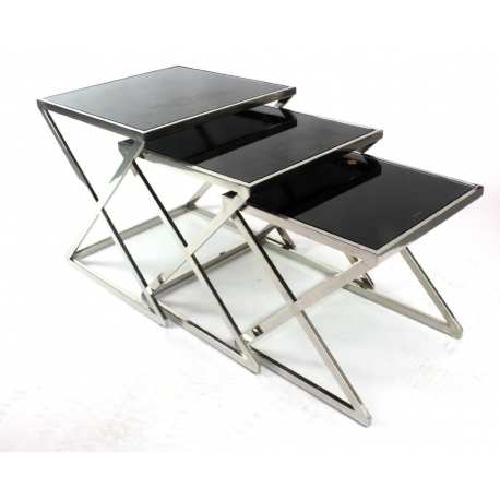 Modern Black Glass Nest Tables Chrome Legs – Set Of 3 Nesting End With Set Of Nesting Coffee Tables (View 20 of 40)