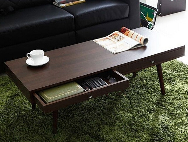 Modern Center Table With 2 Drawers Walnut Finish Living Room Center Within Walnut Finish 6 Drawer Coffee Tables (Photo 5 of 40)