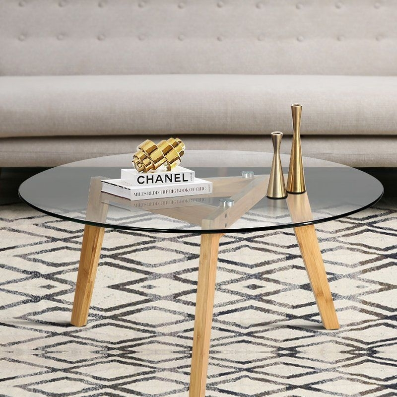 Modern Coffee Table Round Tempered Glass Top Three Bamboo Legs Easy Inside Intertwine Triangle Marble Coffee Tables (Photo 26 of 40)