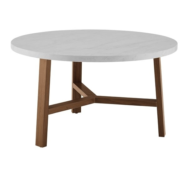 Modern & Contemporary Modern Round Coffee Table | Allmodern Throughout Stack Hi Gloss Wood Coffee Tables (View 13 of 40)