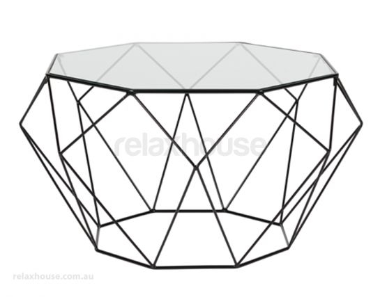 Modern Geometric Diamond Glass Coffee Table With Regard To Black Wire Coffee Tables (Image 24 of 40)