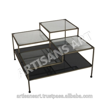 Modern Metal Glass Coffee Table, Rustic Antique Brass Finished Metal Inside Rectangular Brass Finish And Glass Coffee Tables (Image 25 of 40)
