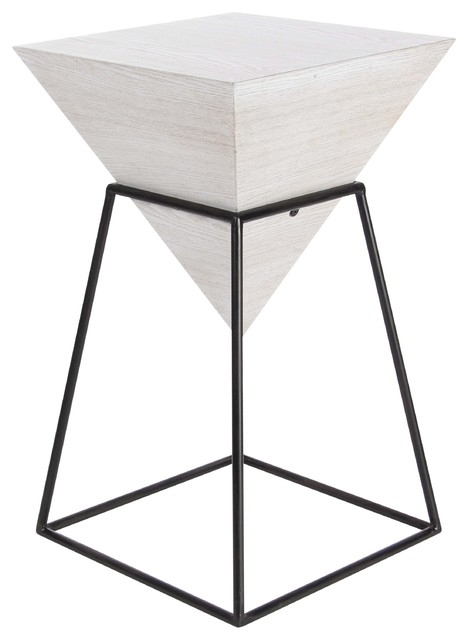 Modern Square Pyramid Block Wooden Accent Table With Iron Frame Within Inverted Triangle Coffee Tables (Photo 17 of 40)