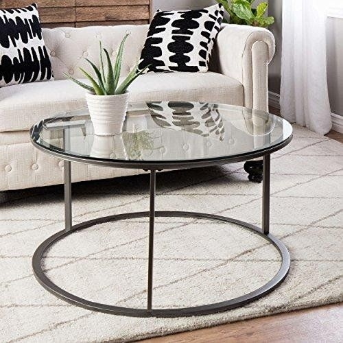 Modern Style Tempered Glass Top Round Shaped Sofa Coffee Tables With Torrin Round Cocktail Tables (View 3 of 40)