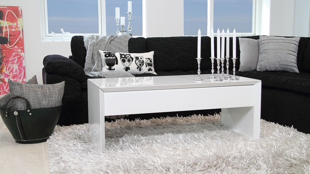 Modern White Gloss Coffee Table | Locking Lid And Storage With Regard To Stack Hi Gloss Wood Coffee Tables (Image 24 of 40)