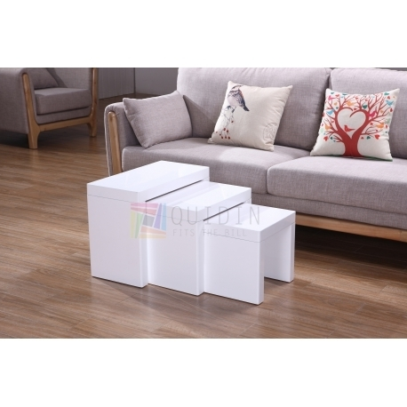 Modern White Wooden Solid Nesting Coffee Tables Set Of 3 Quality Throughout Set Of Nesting Coffee Tables (View 35 of 40)