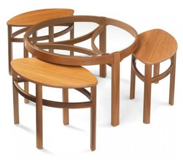 Nathan Glass Top Trinity Nest Of 3 Tables – Teak – Coffee Tables Inside Round Teak Coffee Tables (Image 17 of 40)
