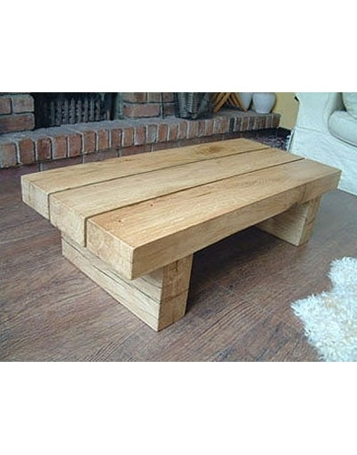 Natural Solid Light Oak 3 Beam Coffee Table, Hand Made Oak Table In Light Natural Coffee Tables (Photo 31 of 40)