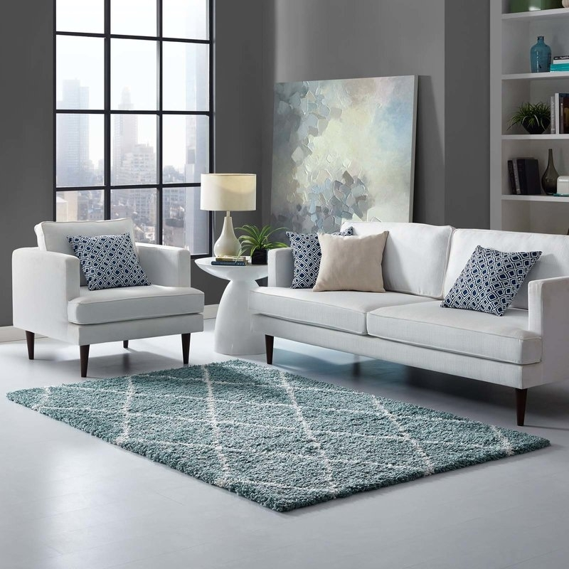 Naveen Diamond Lattice Aqua Blue/ivory Area Rug | Joss & Main Inside Naveen Coffee Tables (Image 19 of 40)