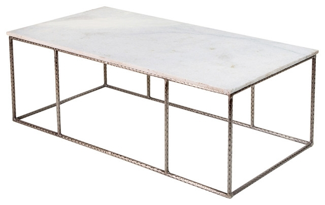 Neha Bazaar Hammered Iron White Marble Coffee Table – Eclectic Intended For Iron Marble Coffee Tables (Image 28 of 40)