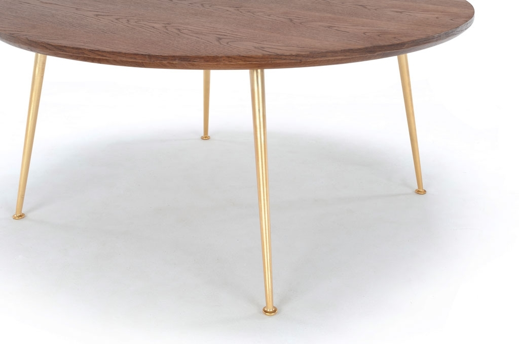 Nelly, Coffee Table, Smoked Oak Top, Metal Matt Brass Legs With Smoked Oak Coffee Tables (Image 30 of 40)