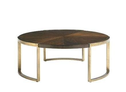 Neoclassical Style Wood, Brass, And Leather Coffee Table, 1940S For Within Joni Brass And Wood Coffee Tables (Image 33 of 40)