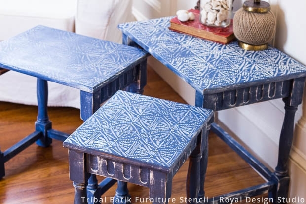 Nesting Tables Get Boho Chic Style With Stencils | Paint + Pattern Within Batik Coffee Tables (View 22 of 40)