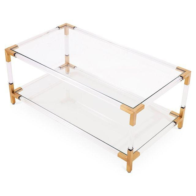 New Design Mirrored Corner Table Brass Classic Coffee Table Glass Pertaining To Acrylic Glass And Brass Coffee Tables (View 21 of 40)