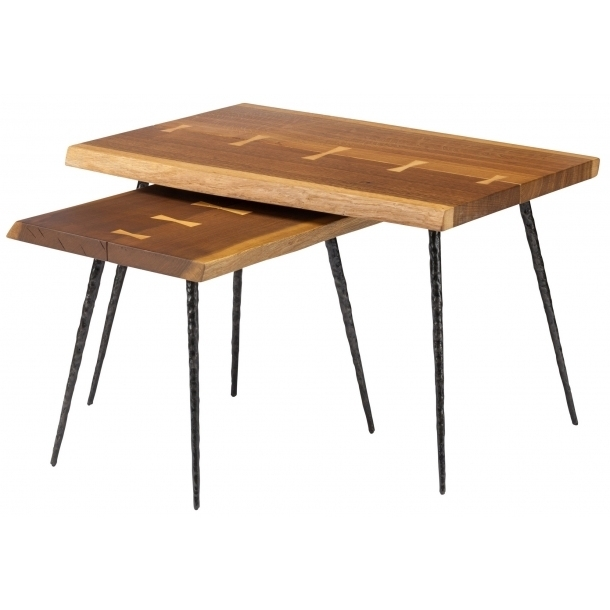 Nexa Smoked Oak Nested Side Tables (Hgsr594)Nuevo Living With Smoked Oak Side Tables (Image 23 of 40)