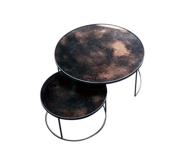Notre Monde Bronze Nesting Coffee Table Set Of 2 Pcs | Mohd Shop Pertaining To Set Of Nesting Coffee Tables (View 18 of 40)