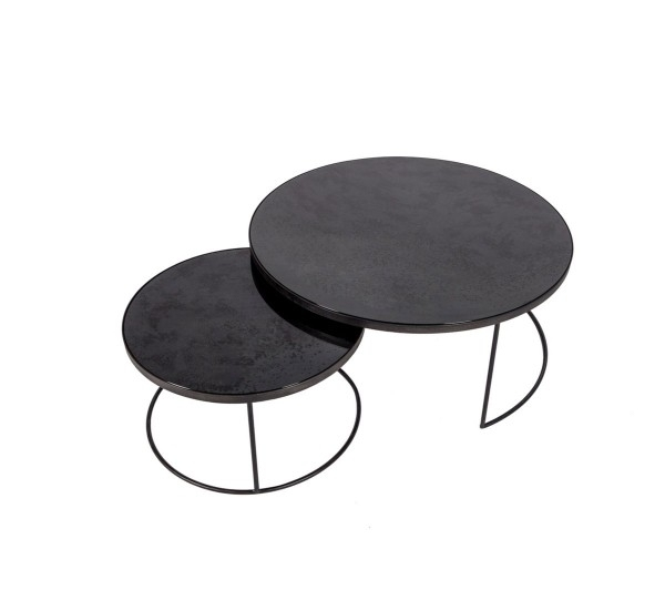 Notre Monde Charcoal Nesting Coffee Table Set Of 2 Pcs | Mohd Shop Within Set Of Nesting Coffee Tables (View 2 of 40)