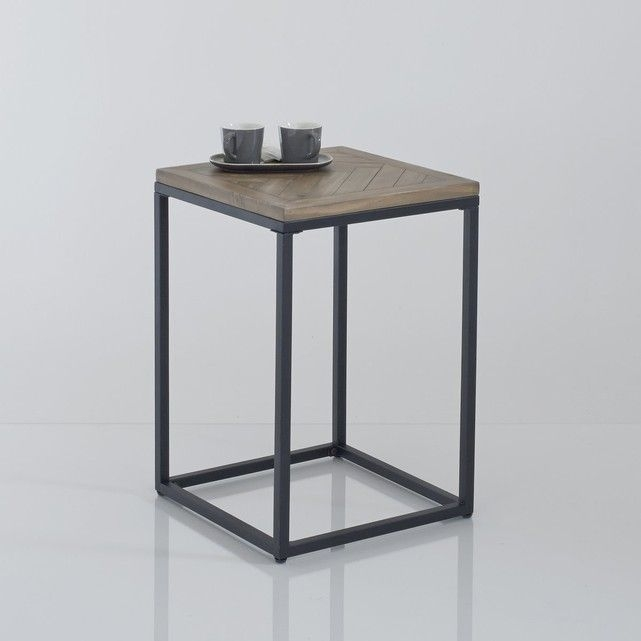 Nottingham Metal And Wood Side Table, 60Cm High | Living Room For Waxed Metal Coffee Tables (Image 26 of 40)