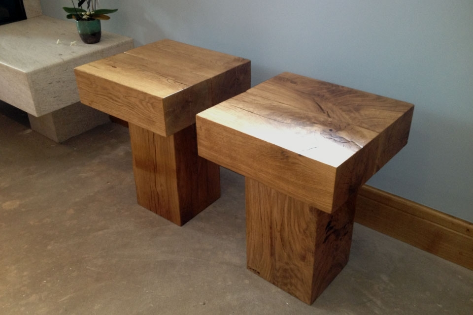 Oak Block Side Tables | Rustic Wooden Styles | Abacus Tables In Smoked Oak Side Tables (Image 25 of 40)