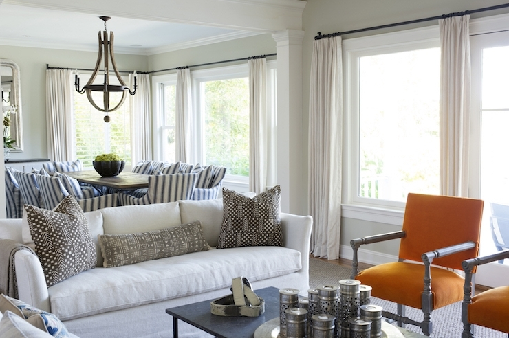 Orange Accent Chairs – Transitional – Living Room With Regard To Batik Coffee Tables (View 29 of 40)