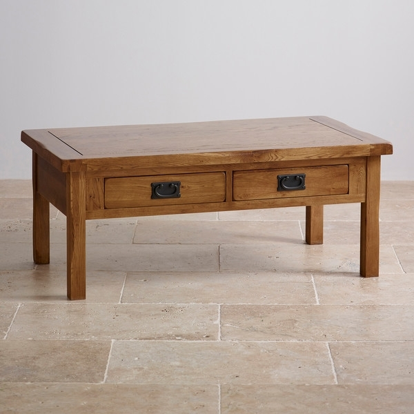 Original Rustic Solid Oak 4 Drawer Storage Coffee Table With Regard To Light Natural Coffee Tables (View 26 of 40)