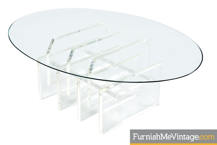 Oval Lucite Coffee Table Within Stately Acrylic Coffee Tables (View 18 of 40)