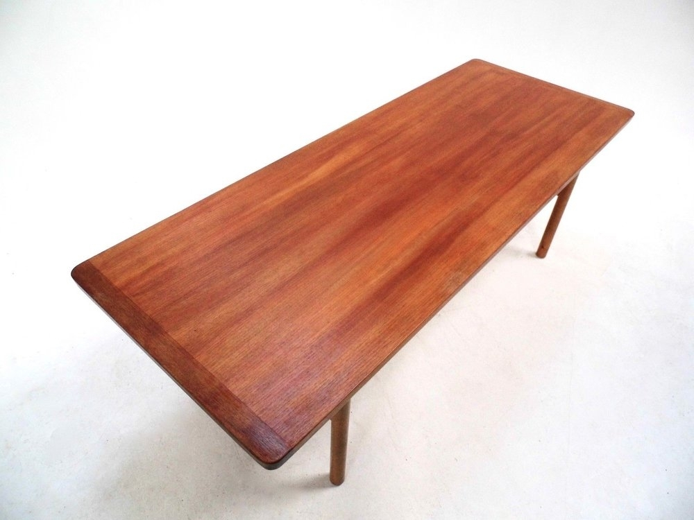 P12300 Vintage Scandinavian Large Teak Coffee Table Norwegian Throughout Large Teak Coffee Tables (View 13 of 40)