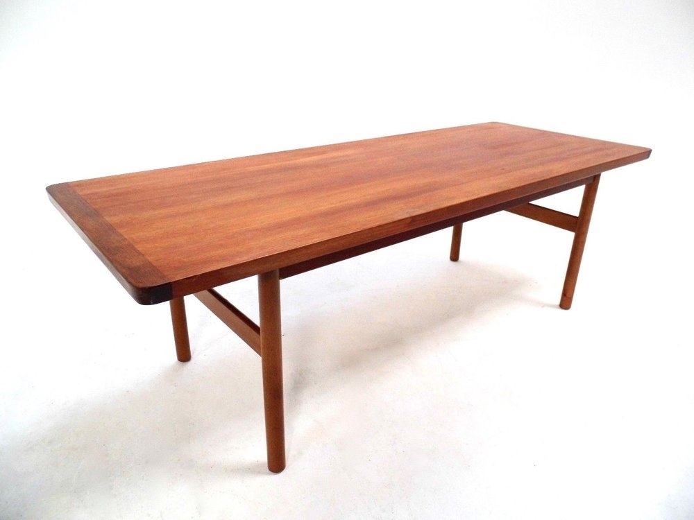 P12300 Vintage Scandinavian Large Teak Coffee Table Norwegian Within Large Teak Coffee Tables (View 31 of 40)