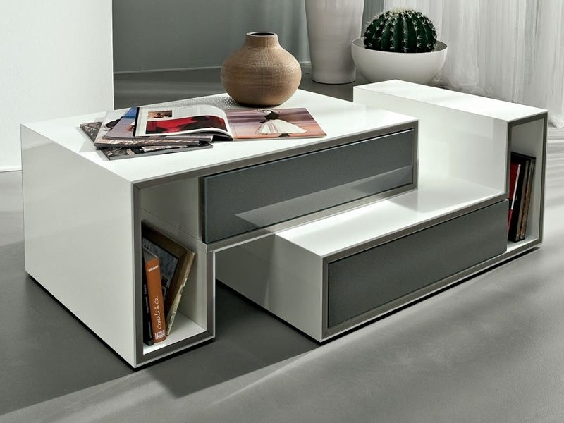 Pa361D – Modular Coffee Table In Lacquered Wood, With Drawer With Modular Coffee Tables (View 24 of 40)
