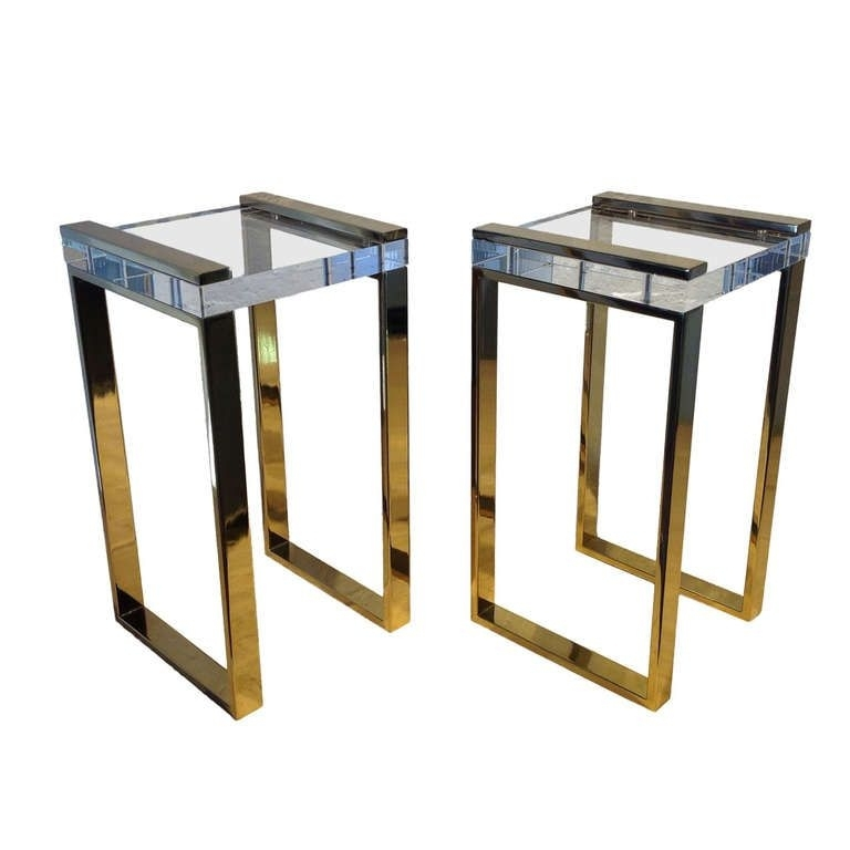 "Pair Of Charles Hollis Jones ""box Line"" Occasional Brass And Acrylic Pertaining To Acrylic & Brushed Brass Coffee Tables (Image 34 of 40)"